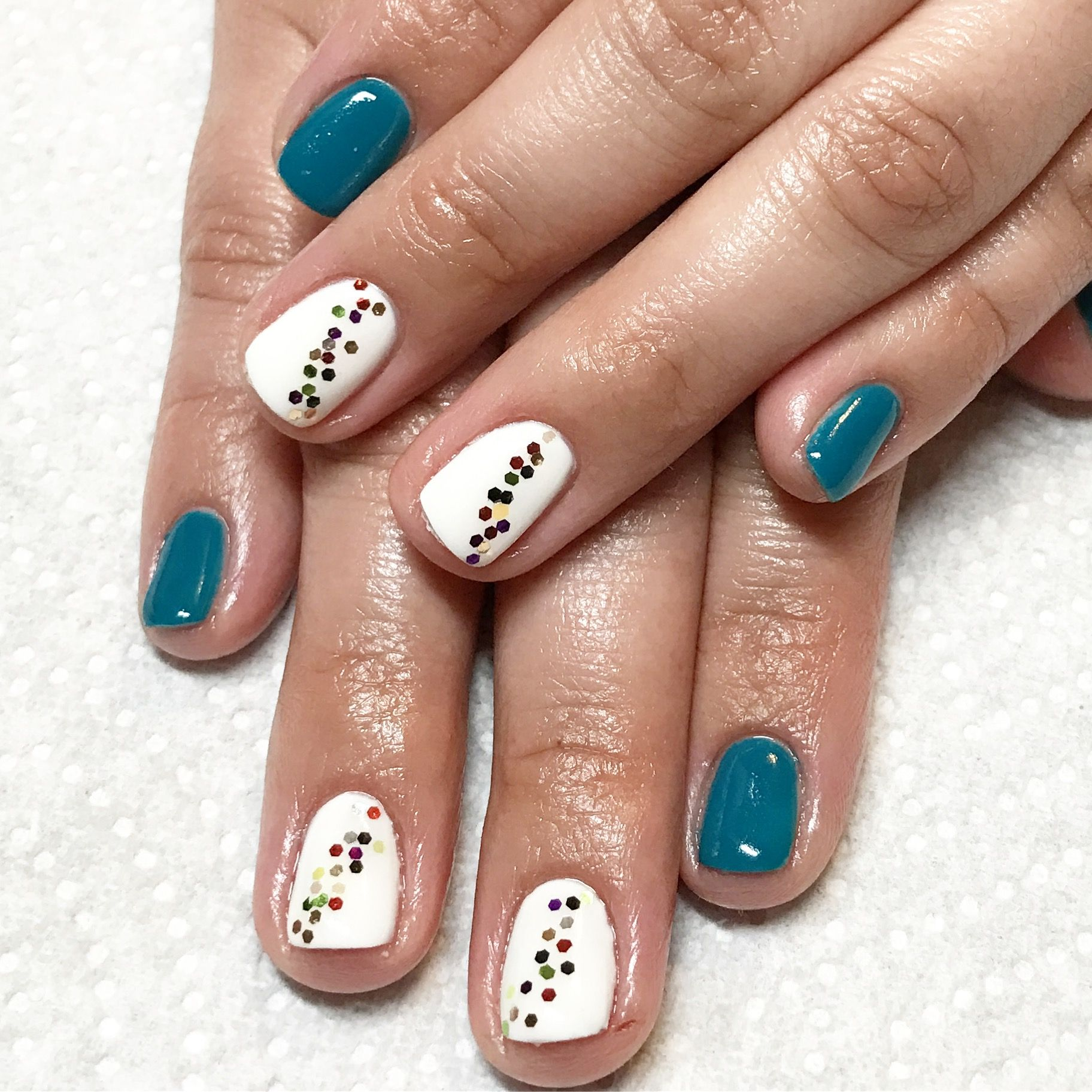 Gel Nails Short Teal Glitter Party Birthday