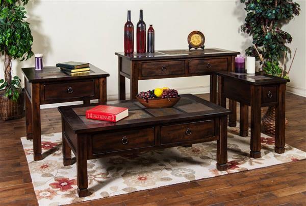 Santa Fe Dark Chocolate Wood Coffee Table Set 3143dc 44 45 Coffee Table Coffee Table Wood Coffee And End Tables