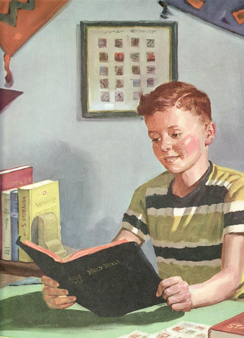 sunday 1950s and 1960s children reading bible those