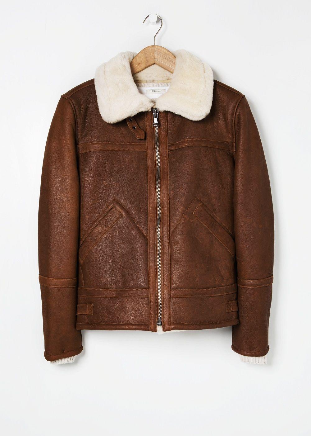 Furlined Leather Aviator Fashion, Leather jacket, Mens