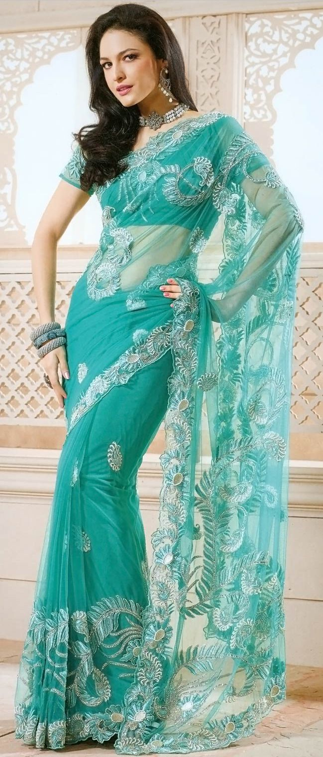 ce8c97a85125d3 Sea #Green Net #Saree with Blouse @ $309.72 | Next India Trip ...