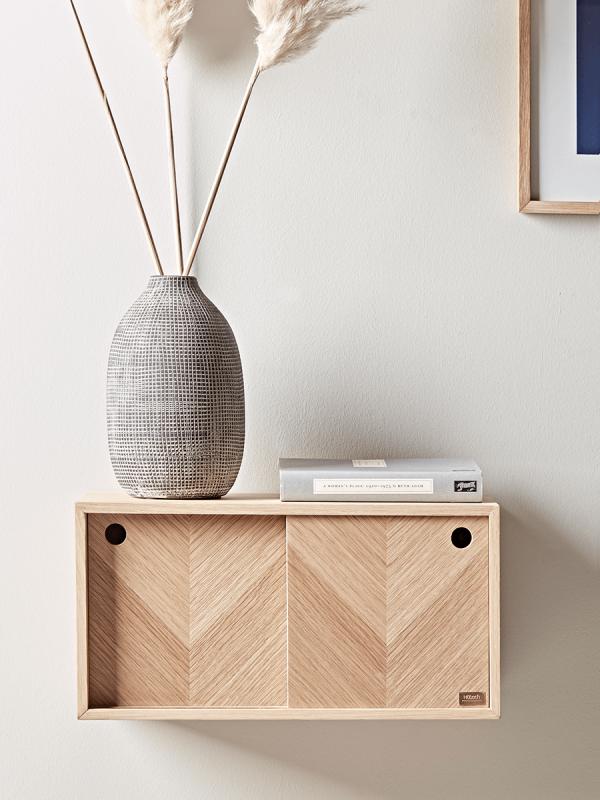 Herringbone Oak Parquet Shelf With