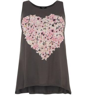Inspire Brown Floral Heart Print Curve Hem Vest