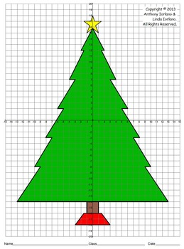 Christmas Tree Four Quadrants Coordinate Drawing Graphing Mystery Picture Graphing Mystery Picture Graph Graphing Project