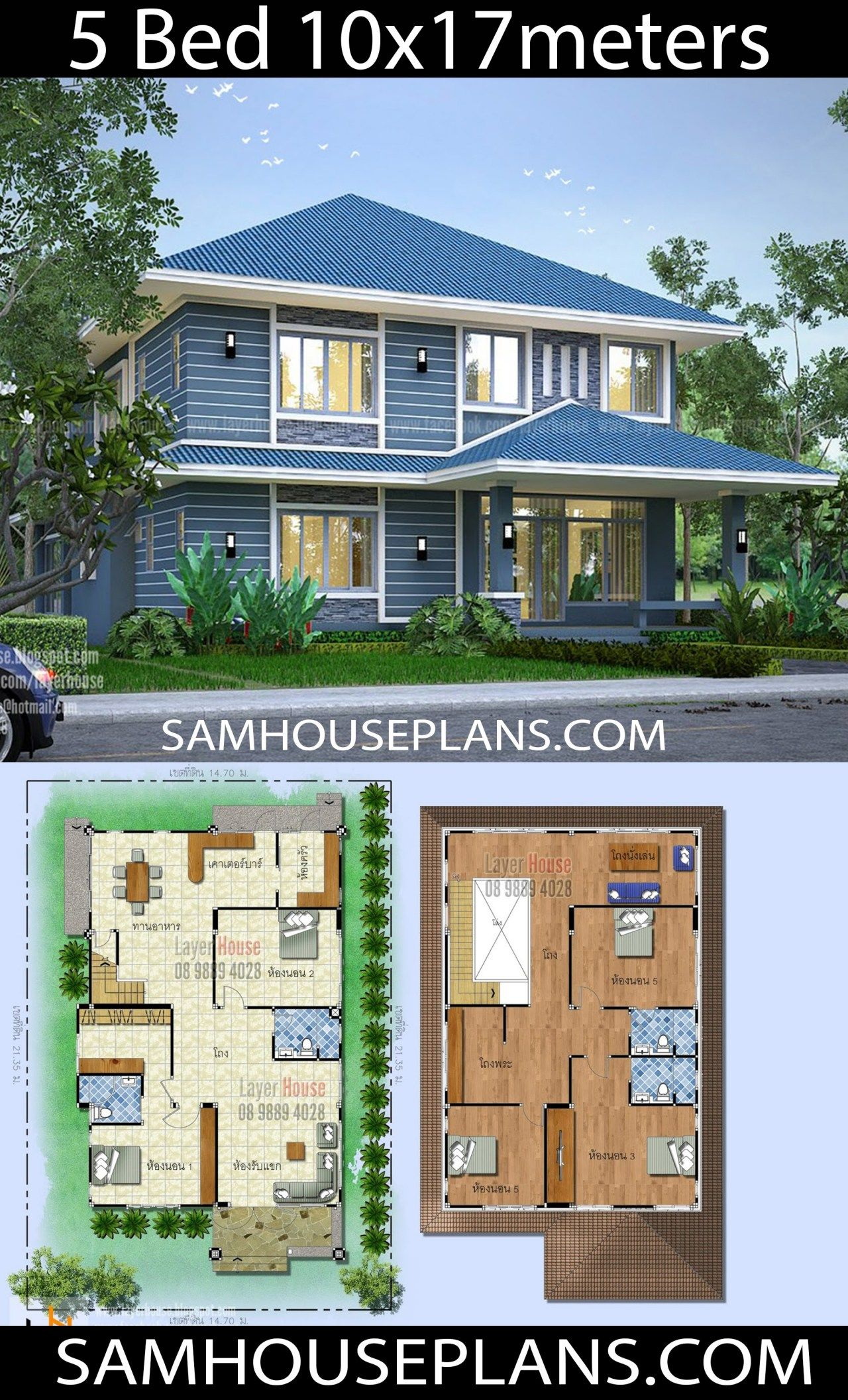 House Plans Idea 10x17m With 5 Bedrooms Sam House Plans House Plans Home Design Plans House