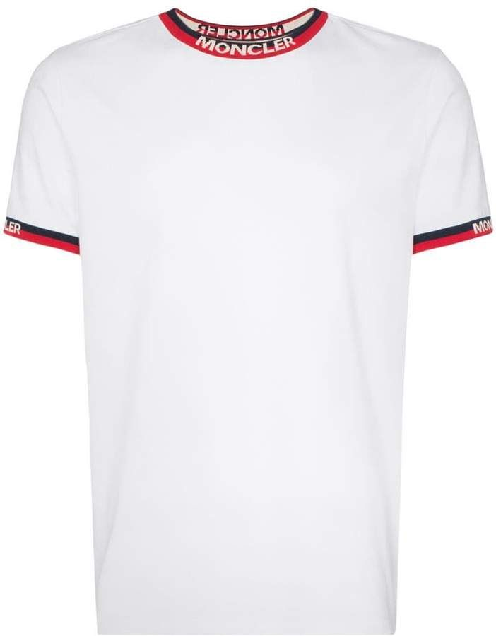 0f6041bb1 Moncler logo stripe crew neck T-shirt | Products in 2019 | Shirts ...