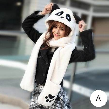 f0d3b7bc9bc7f Animal panda hat scarf and gloves all in one for girls hat with fox gloves  attached