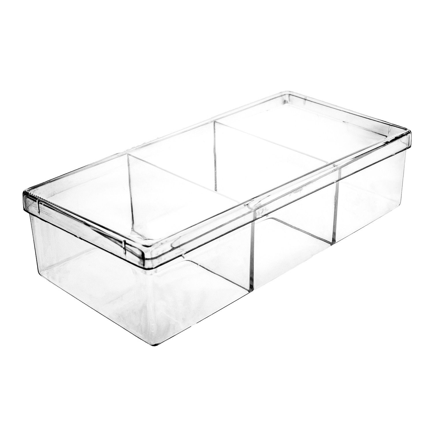 Square Plastic Container With Dividers 20 Oz Storage Capacity 6 3 4 W X 1 5 8 H X 3 3 16 D Made Using H Plastic Containers Kitchen Food Storage Food Storage