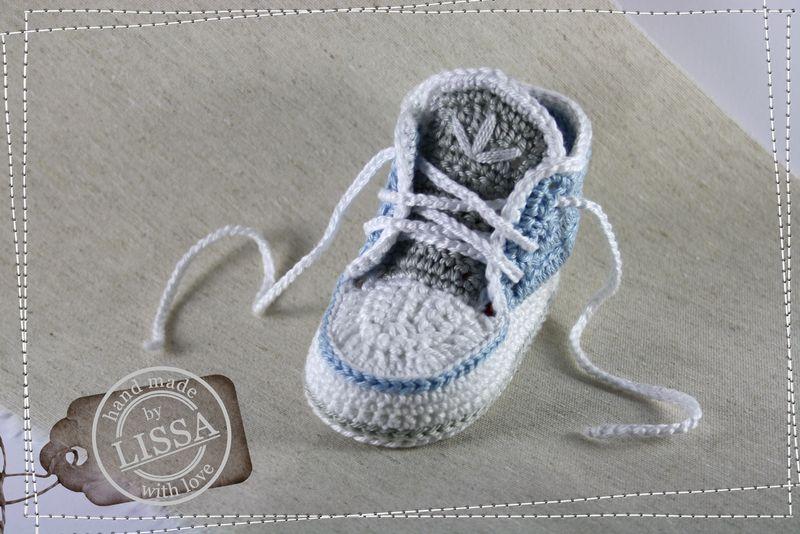 Babyschuhe Gehäkelt In Hellblau Weiß Grau Von Lissa Auf Dawandacom