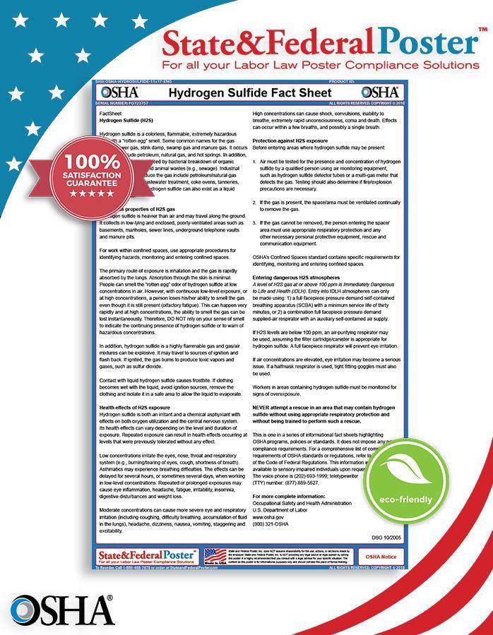 OSHA Hydrogen Sulfide Factsheet! This fact sheet provides