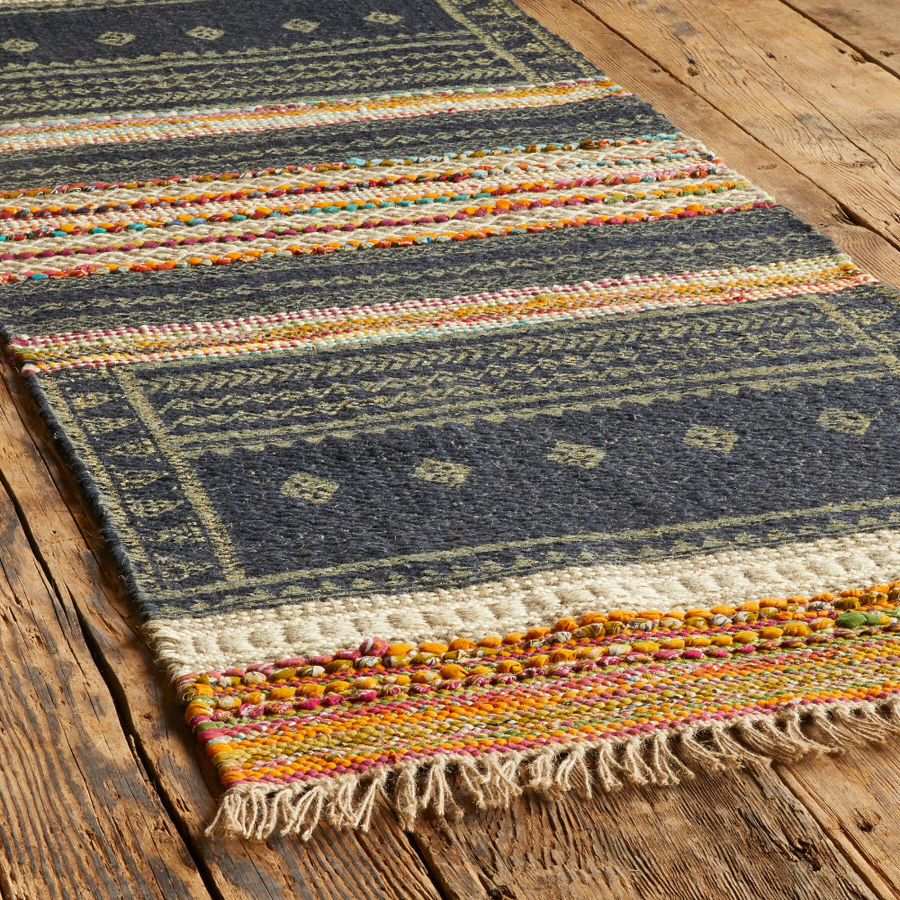 Indigo Rug Living Room Rug  Indian Rug  Dhurrie Rug  Kilim Rug  Floor Rug  Area Rug  Woven Carpet