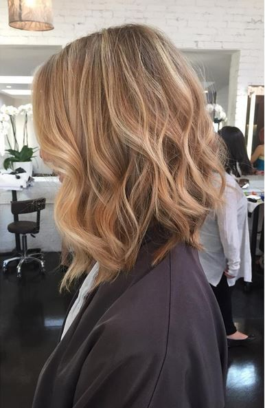 Wheat Blonde Highlights And Textured Long Bob Hairstyle Hair