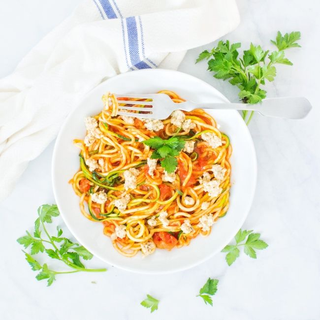 Zucchini Noodles in Tomato Sauce with Herbed Cashew 'Ricotta' Cheese