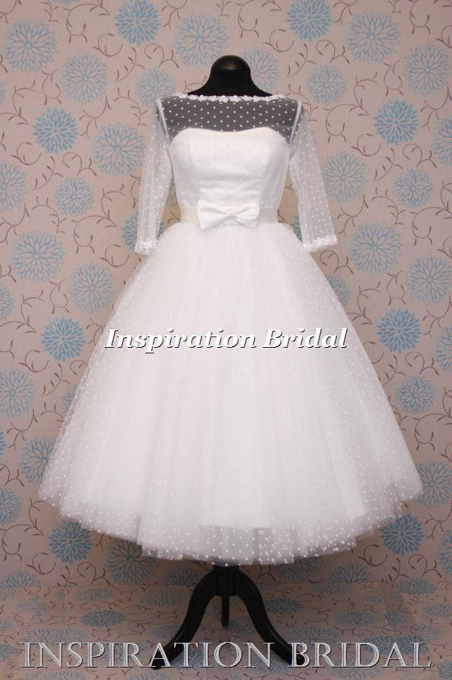 0f7a3b885f47 1547 polka dot tulle tea length dress with elbow length sleeves ...