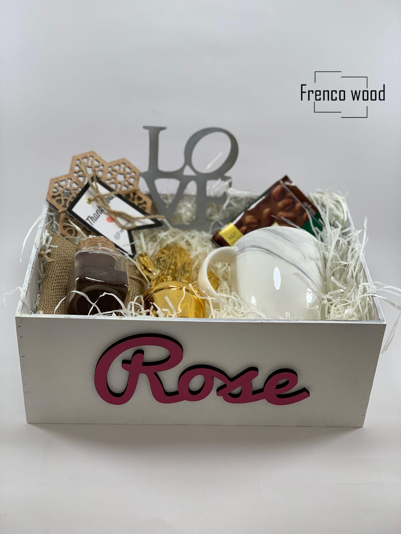 هدية هدايا بوكس بوكس خشبي توزيعات بالاسم تخرج نجاح مواليد افكار فكره هديه Giftbox Container Takeout Container Rose