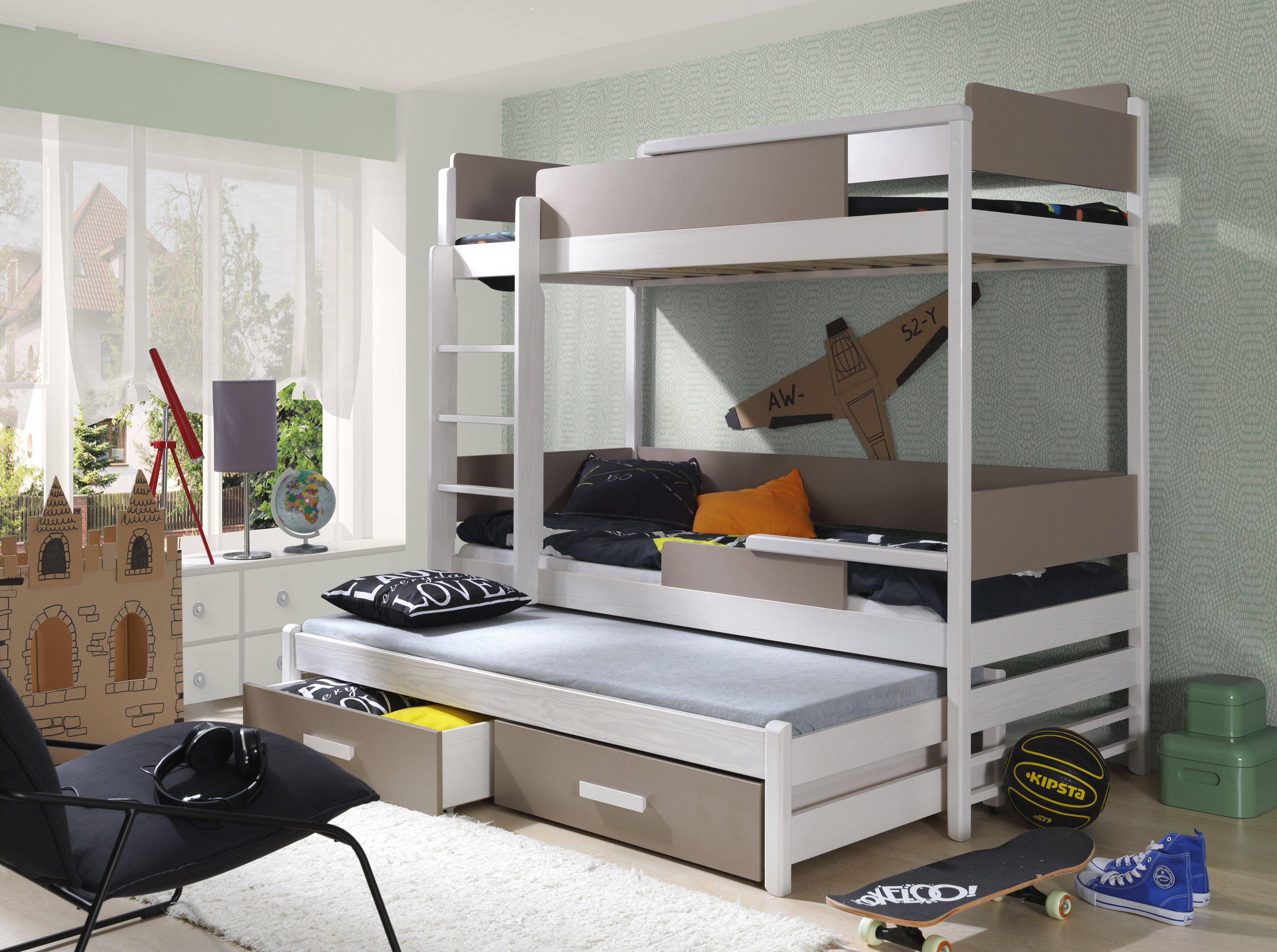 Elegantes Hochbett \'ROSE\' - Stockbett für Drei - Kinderzimmer ...
