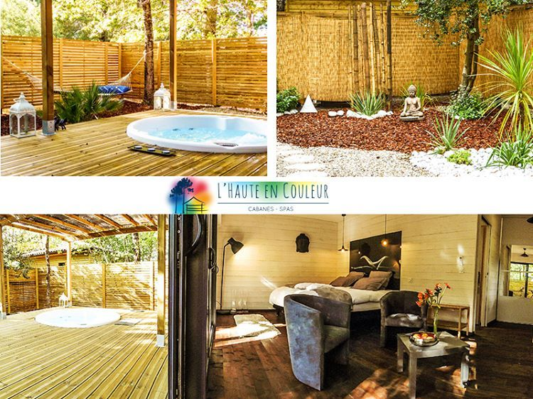 Luxury hut with spa nestled along a 3 hectare private forest, at the - Hotel Avec Jacuzzi Dans La Chambre