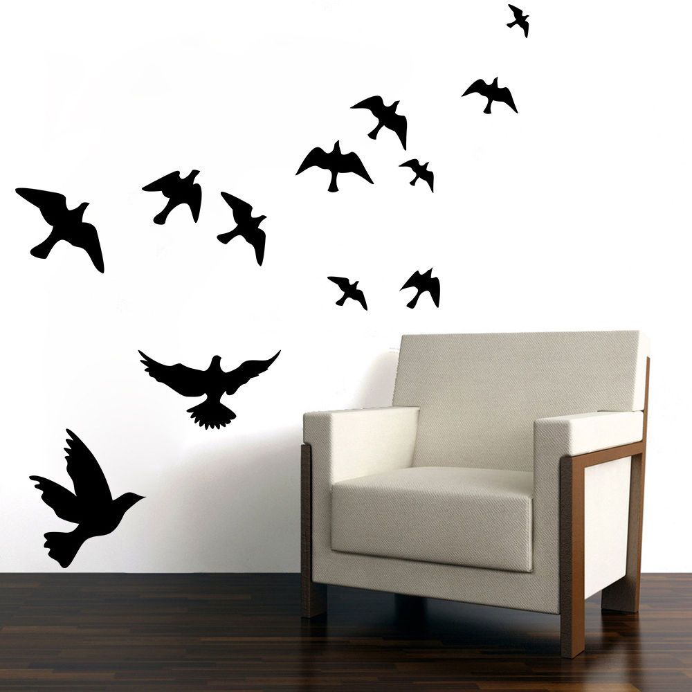 Window decor stickers  art home room decor diy removable  pcs lovely birds window wall