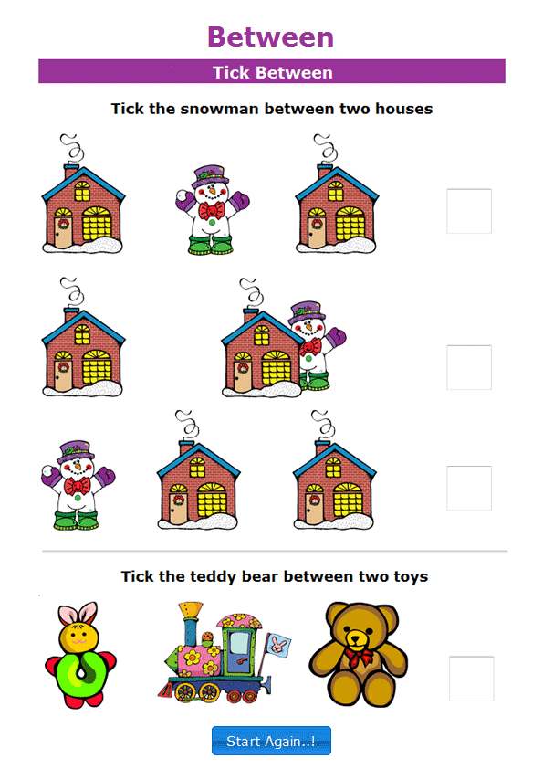 49+ Printable Position Worksheets For Kindergarten Background