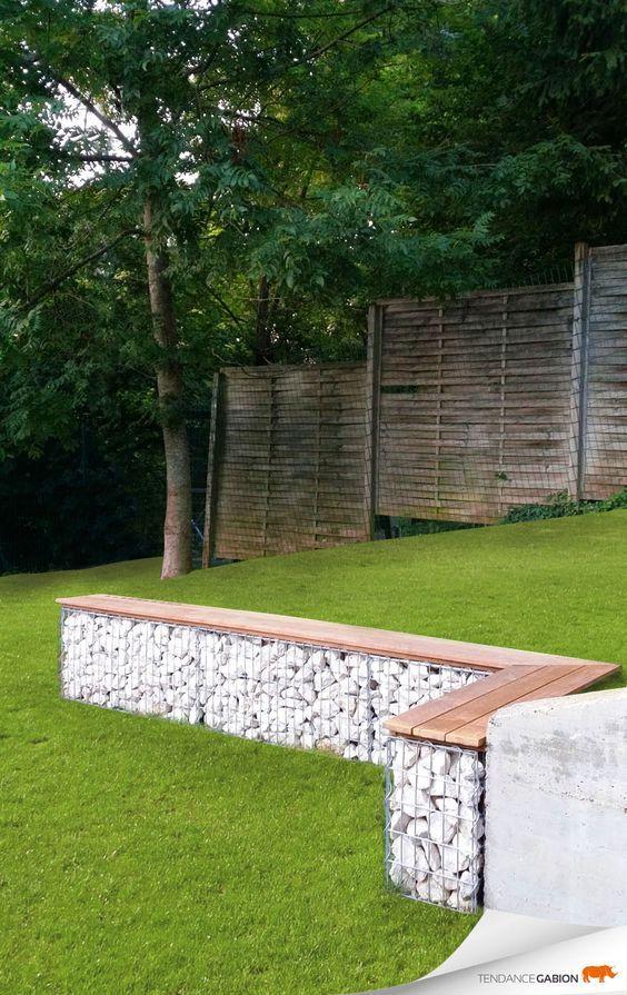 banc en gabion exterieur plus terrasses pinterest jardins amenagement jardin et ext rieur. Black Bedroom Furniture Sets. Home Design Ideas