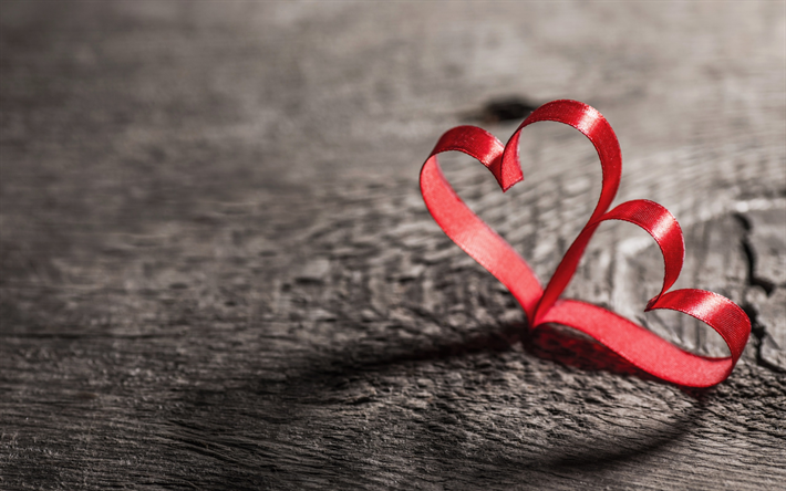 Download Wallpapers Valentines Day Two Hearts Love Concepts Red Silk Ribbons Red Hearts Besthqwallpapers Com Love Wallpaper Candy Cane Valentines Day Holiday
