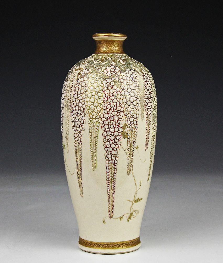 Unusual antique japanese satsuma pottery vase w wisteria in relief unusual antique japanese satsuma pottery vase w wisteria in relief gyokuzan reviewsmspy