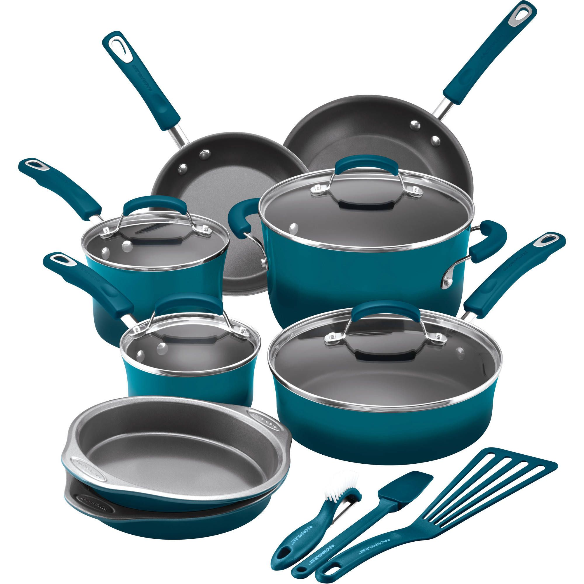 Rachael Ray 15 Piece Hard Enamel Nonstick Cookware Set   Walmart.com