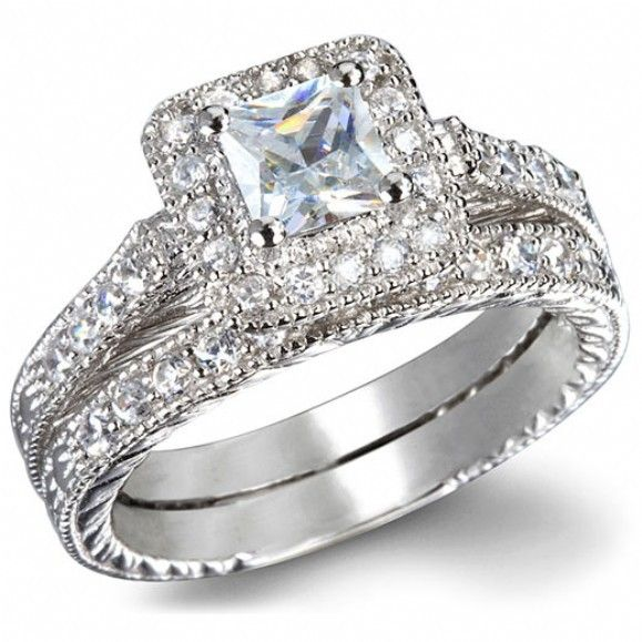 Exceptional $990 GIA Certified 1 Carat Princess Cut Diamond Vintage Wedding Ring Set In  White Gold