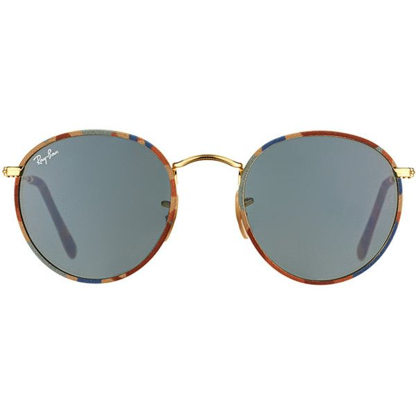 1141f7fd68 Ray-Ban Ray-Ban Camouflage Rb 3447jm 170 R5 Brown Blue And Gold Round...  ( 126) ❤ liked on Polyvore featuring accessories