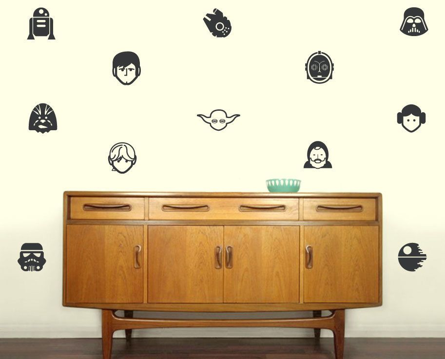 Star Wars Characters Silhouette Vinyl Decals Set Of Make - How to make vinyl wall decals with silhouette