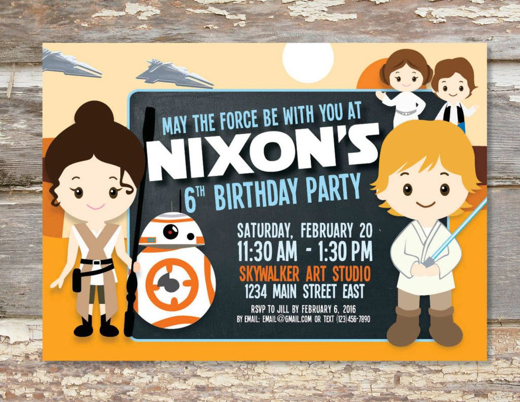 bday party invitation mail%0A Printable Star Wars The Force Awakens birthday party invitation from Oh  Hello Periwinkle