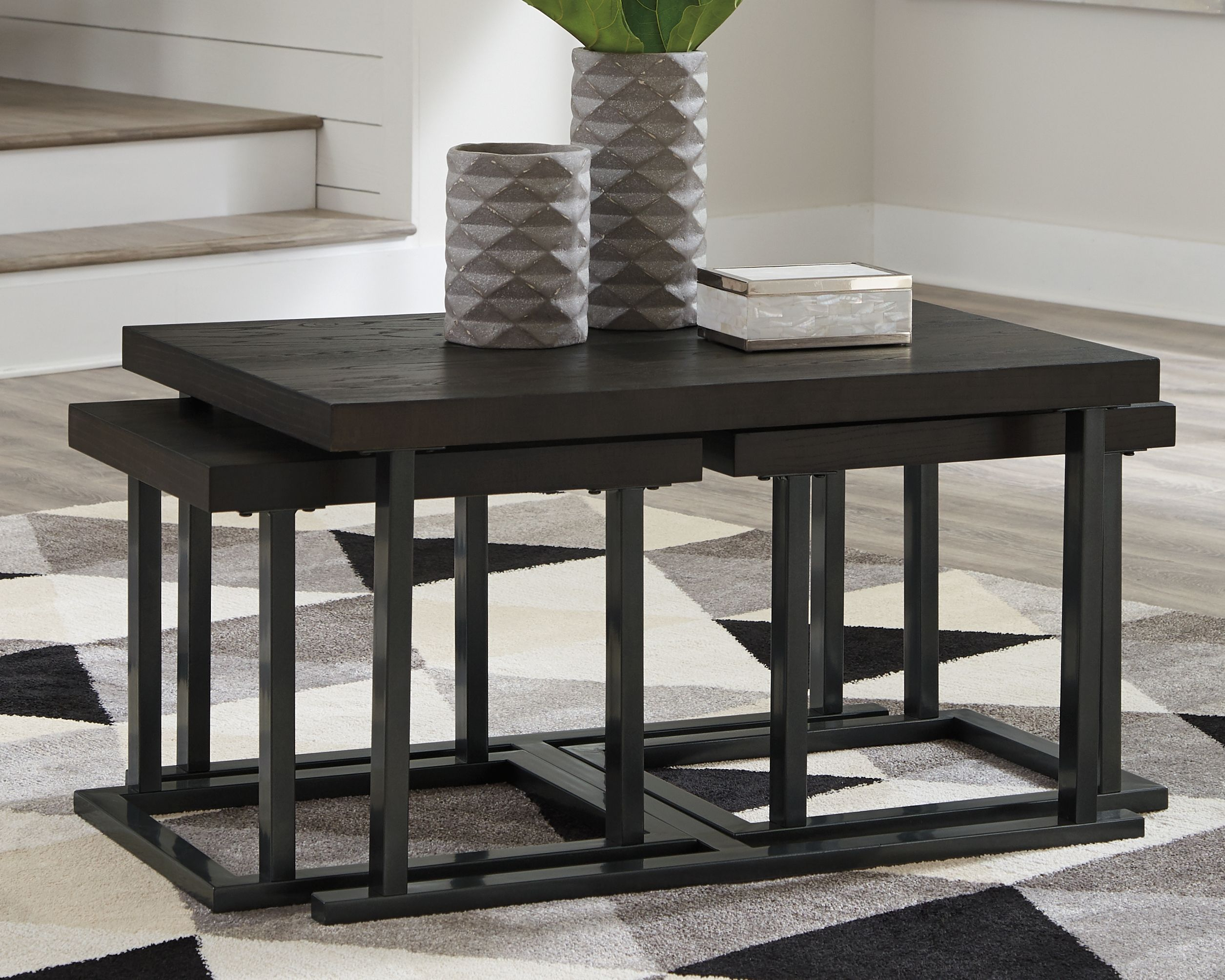 Airdon Coffee Table With Stools Set Of 3 Bronze In 2020