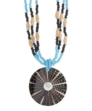 Loving this Black & Natural Burst Shell Beaded Pendant Necklace on #zulily! #zulilyfinds