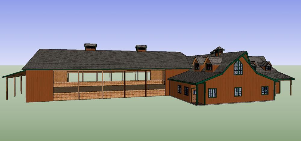 Image gallery horse stall indoor arena for House and barn combination plans