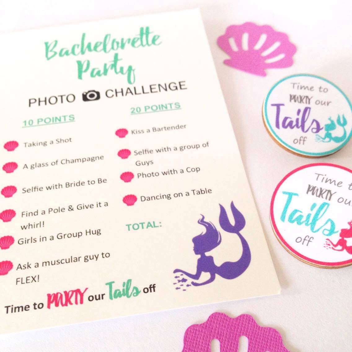 Bachelorette Party Game Cards - Mermaid Photo Challenge ...