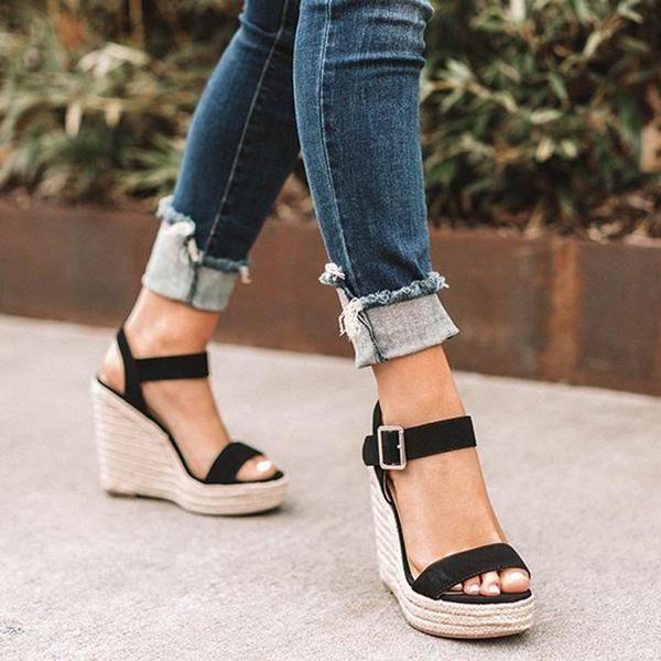 2493ca1c1 Elegant Adjustable Buckle Wedge Sandals in 2019 | Accessories ...