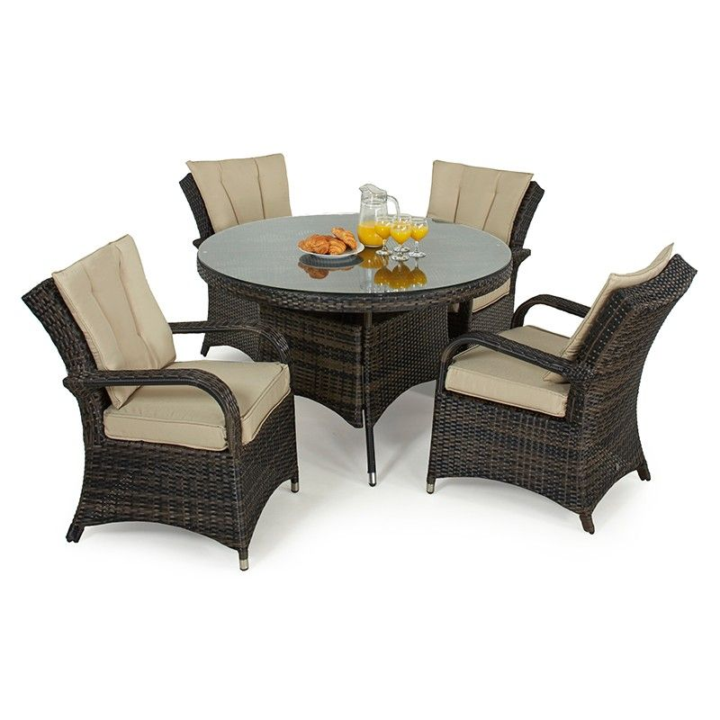Texas 4 Seat Rattan Dining Set 1 2m Round Table Rattan