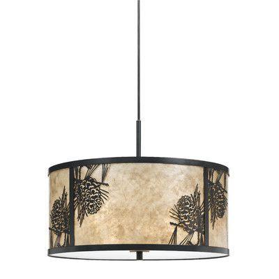 Cal Lighting Pine Cone 3 Light Drum Pendant