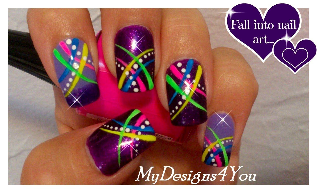 Easy nail art for short nails, abstract purple nails tutorial ...