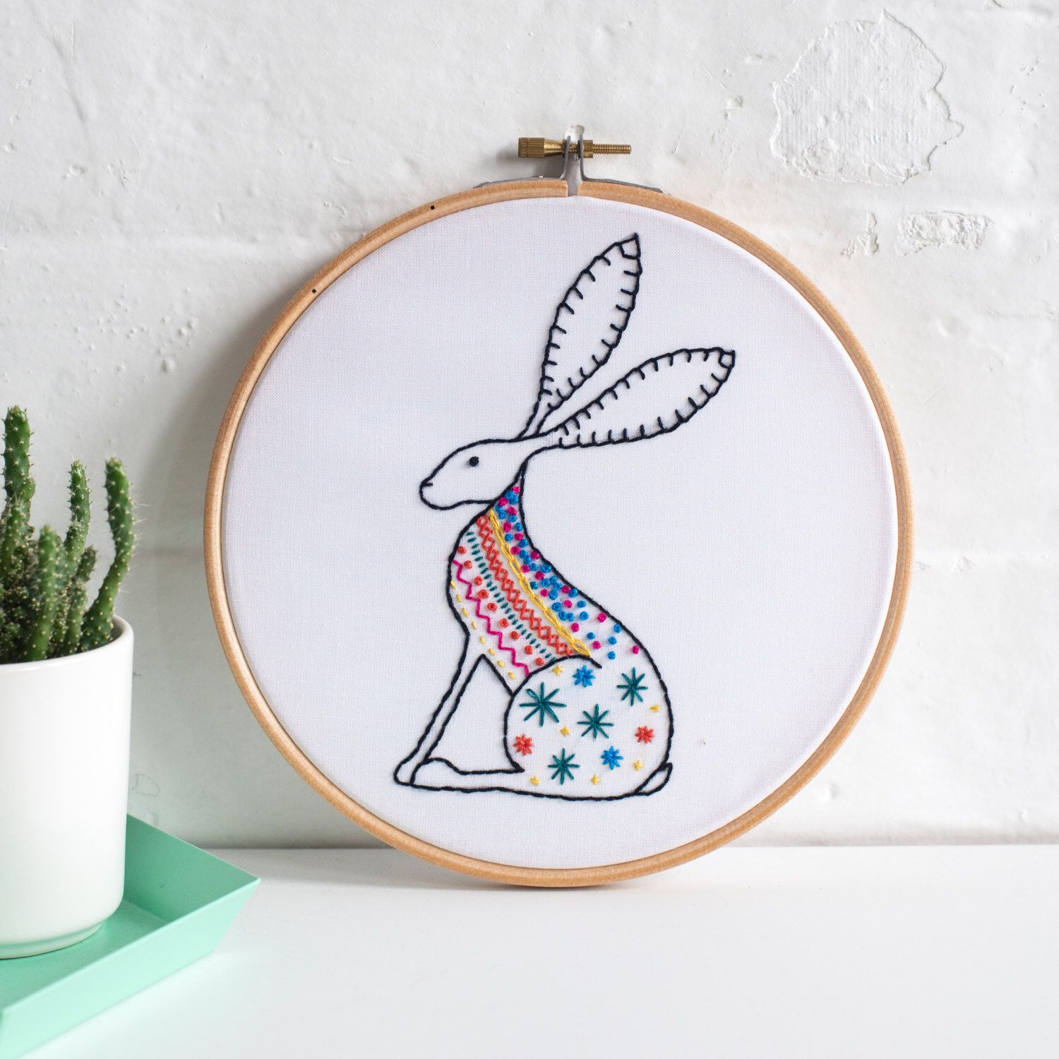 Hare Contemporary Embroidery Kit  Embroidery Hoop Art  Learn How To  Embroider  Hand Embroidery Kit  Craft Kit  Embroidery Pattern