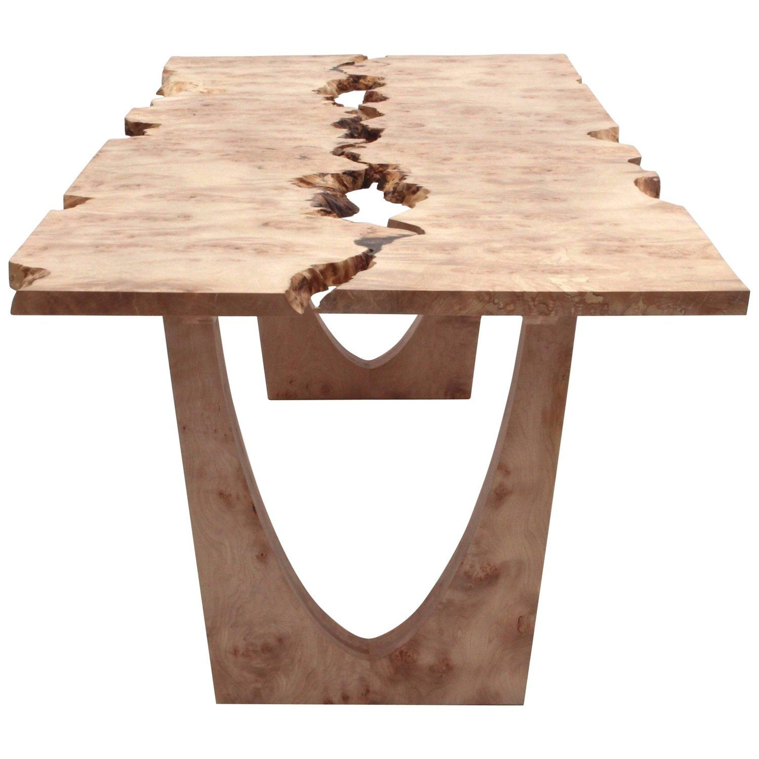 Contemporary Dining Table With Inverted Live Edge Solid Maple
