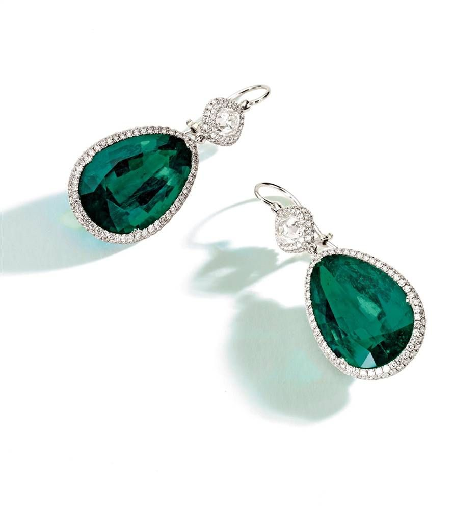 Pear Shaped Emerald Diamond Earrings 3 Only 2 Mill