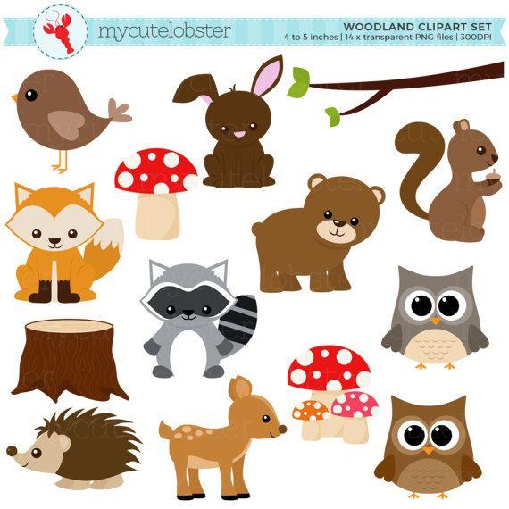 Woodland Clipart Set Clip Art Set Of Woodland Animals Etsy In 2021 Woodland Clipart Clip Art Woodland Animals Party