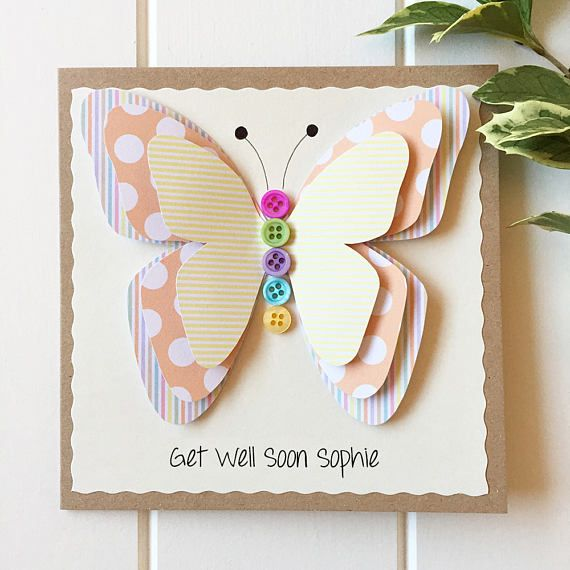 Get Well Soon Card - Card for Girlfriend- 3D Butterfly Card ...