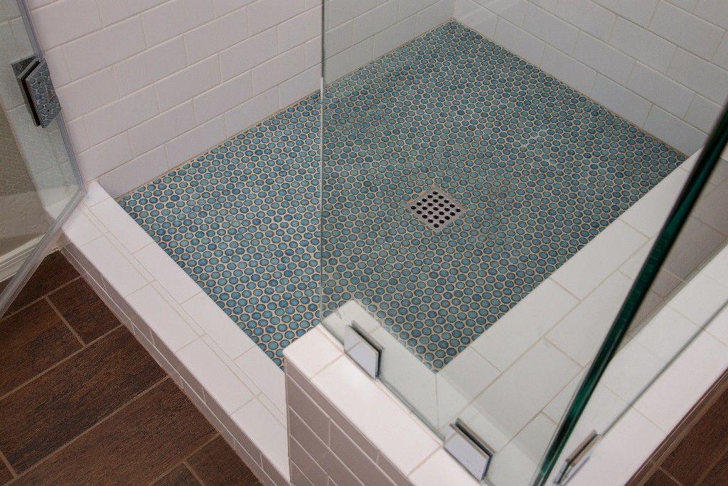 Shower Remodel In Chandler Arizona Blue Penny Tile Shower Floor Tile