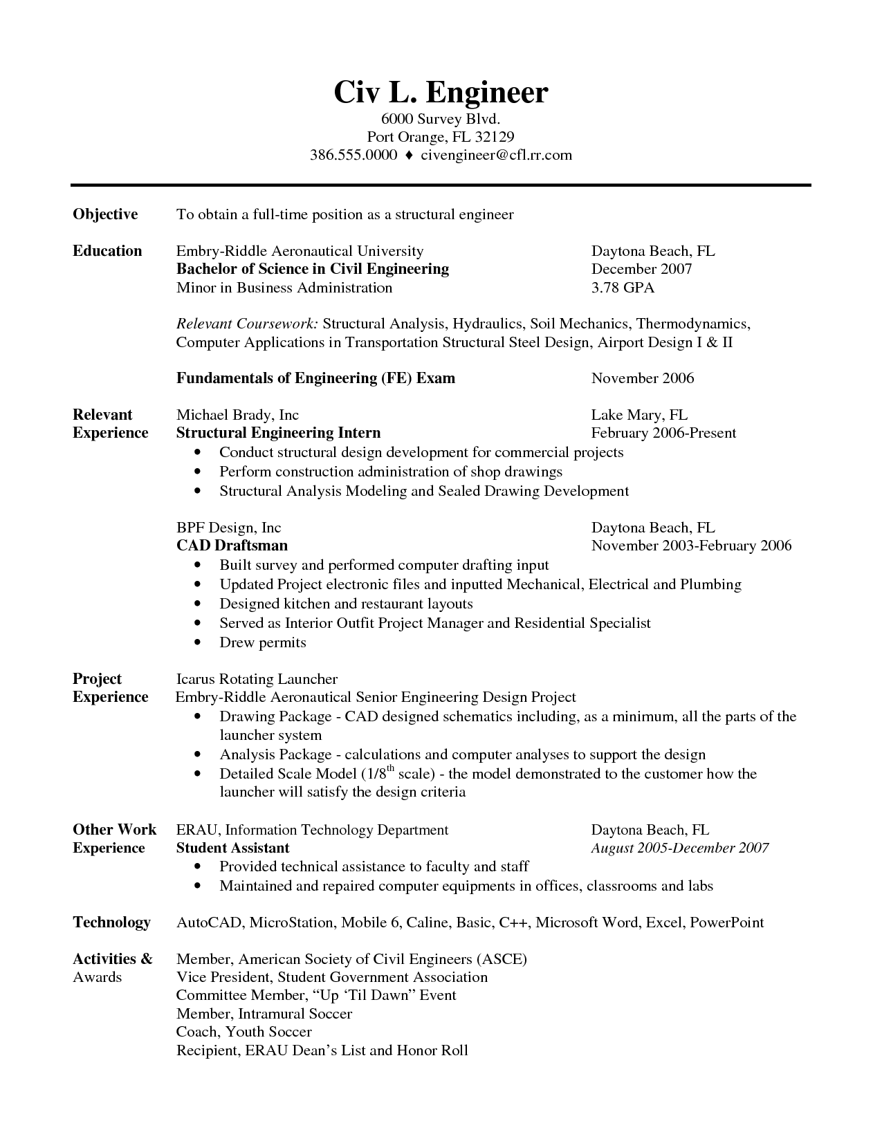 Resume Resume Format Civil Engineer resume sample for civil engineer technician examples engineering jobs resume