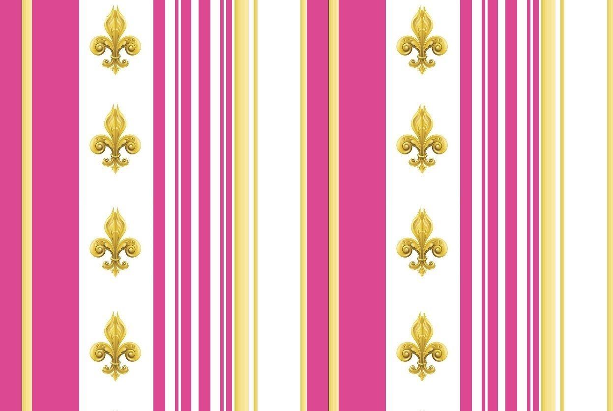 Fleur de Lys or style Empire tissu rayés au mètre rose ...