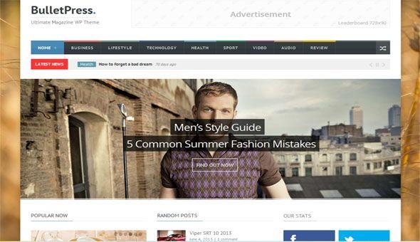 Responsive WordPress News Themes - Bullet Press
