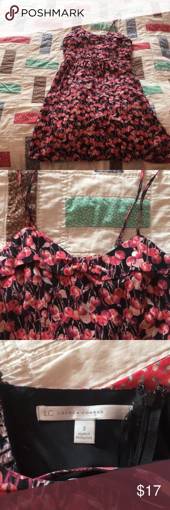 Lauren conrad cherry patterned mini dress patterned mini dresses