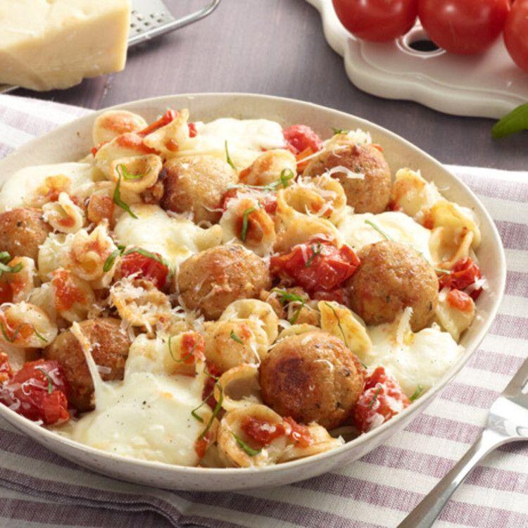 Orecchiette With Mini Chicken Meatballs By Giada De Laurentiis Food Network Recipes Chicken Meatball Recipes Chicken Meatballs